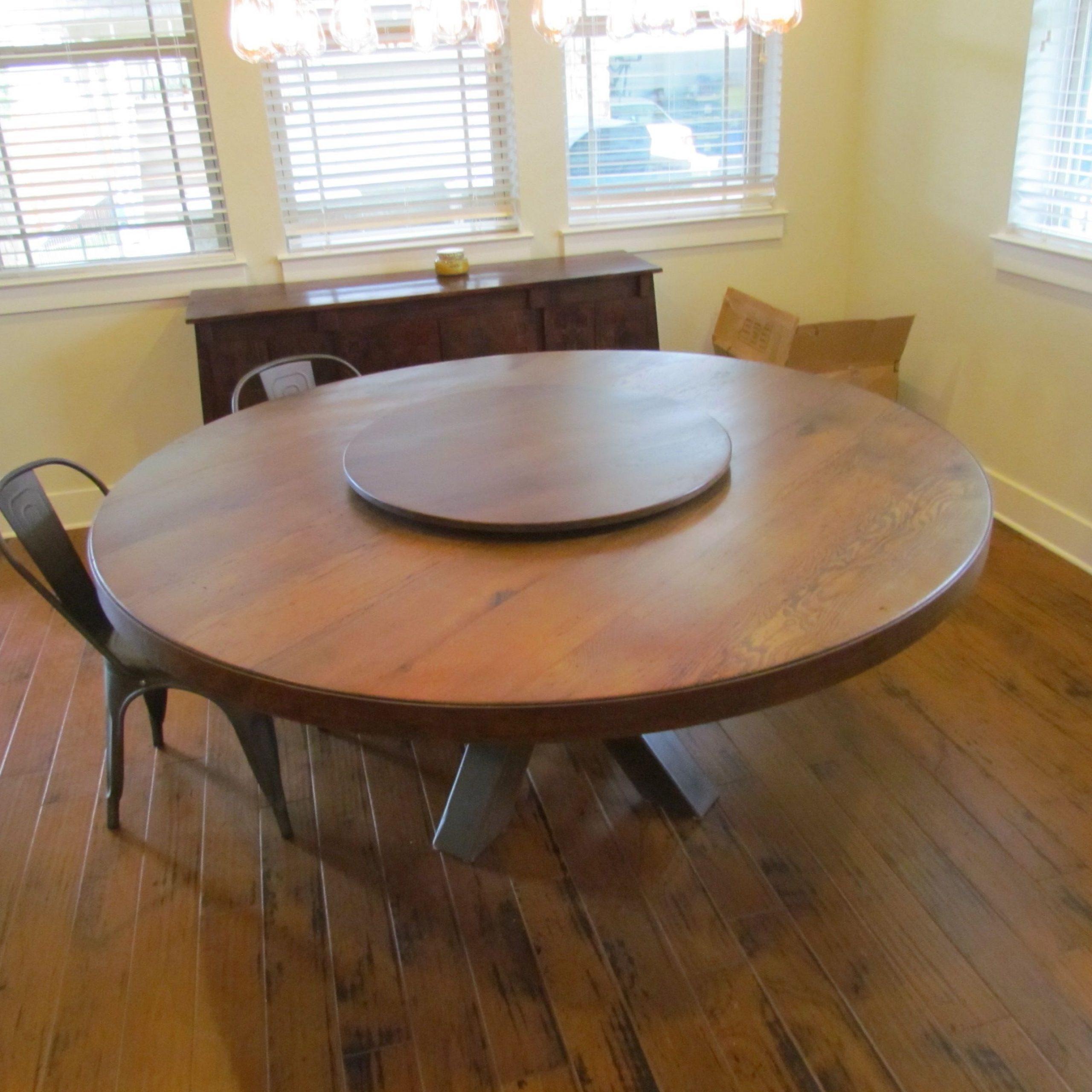 """2020 Solid Wood Circular Dining Tables White Intended For Buy A Hand Made White Oak 72"""" Round Dining Table With Lazy (View 9 of 25)"""