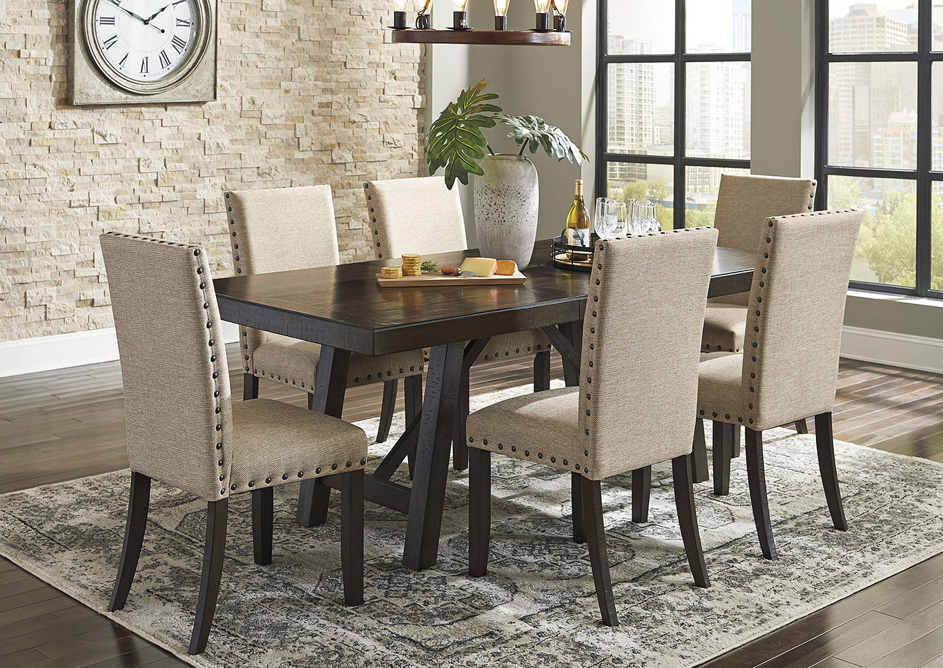 2020 Transitional 6-Seating Casual Dining Tables intended for Bargain Furniture & Appliances - Mi Rokane Light Brown