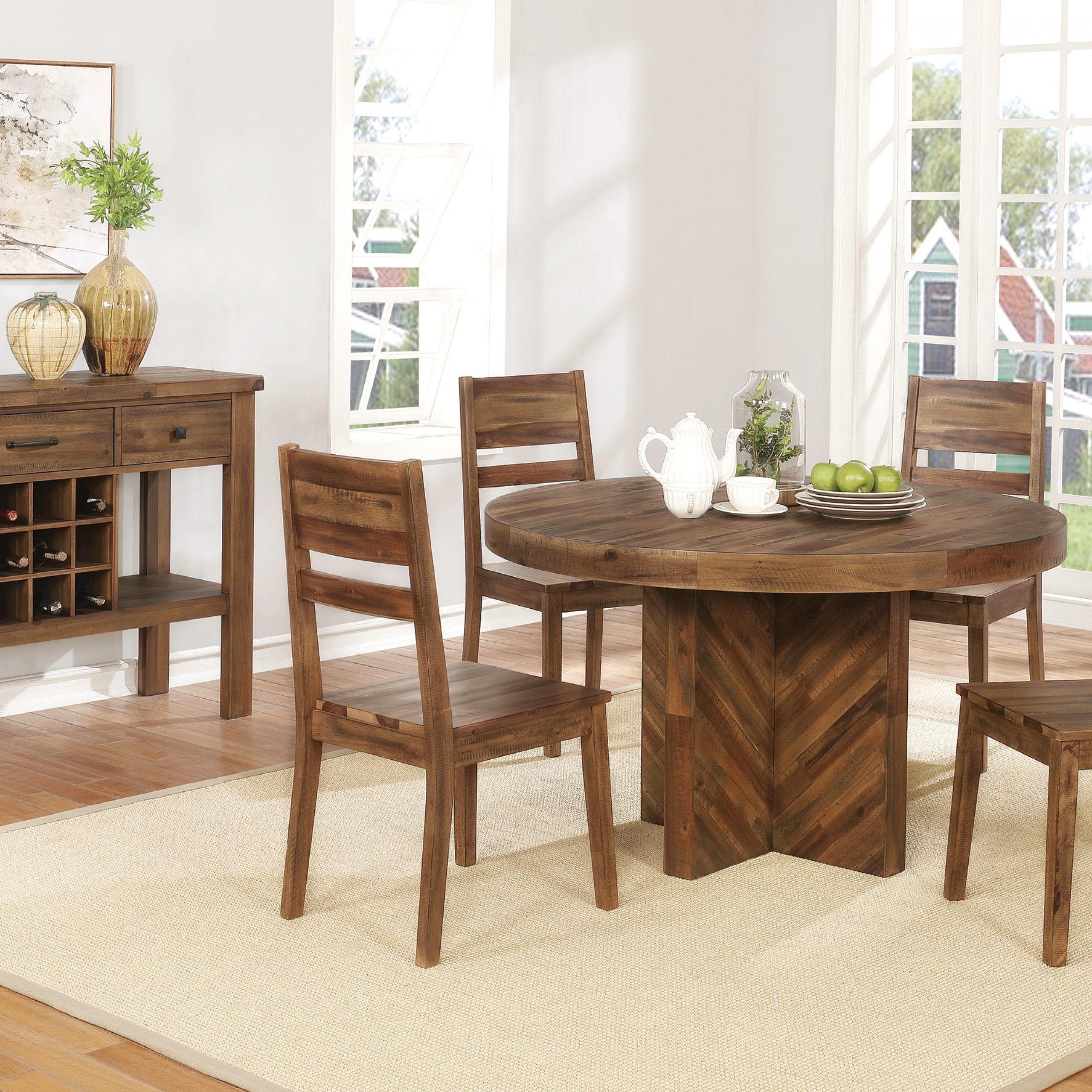 2020 Tucson Round Dining Table Varied Natural - Coaster Fine intended for Coaster Contemporary 6-Seating Rectangular Casual Dining Tables