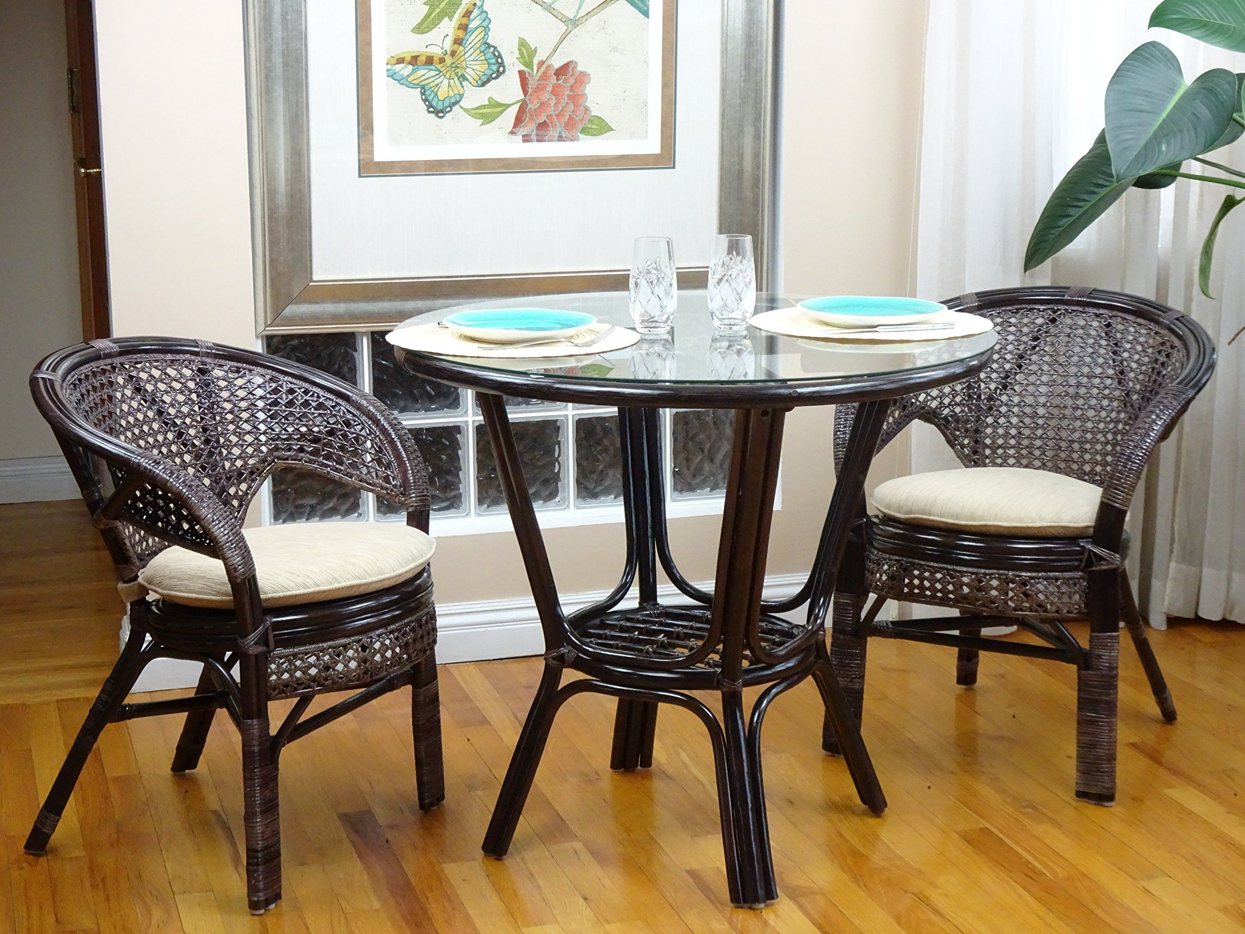 3 Pcs Pelangi Rattan Wicker Dining Set Round Table Glass Top With Favorite Alamo Transitional 4 Seating Double Drop Leaf Round Casual Dining Tables (View 1 of 26)