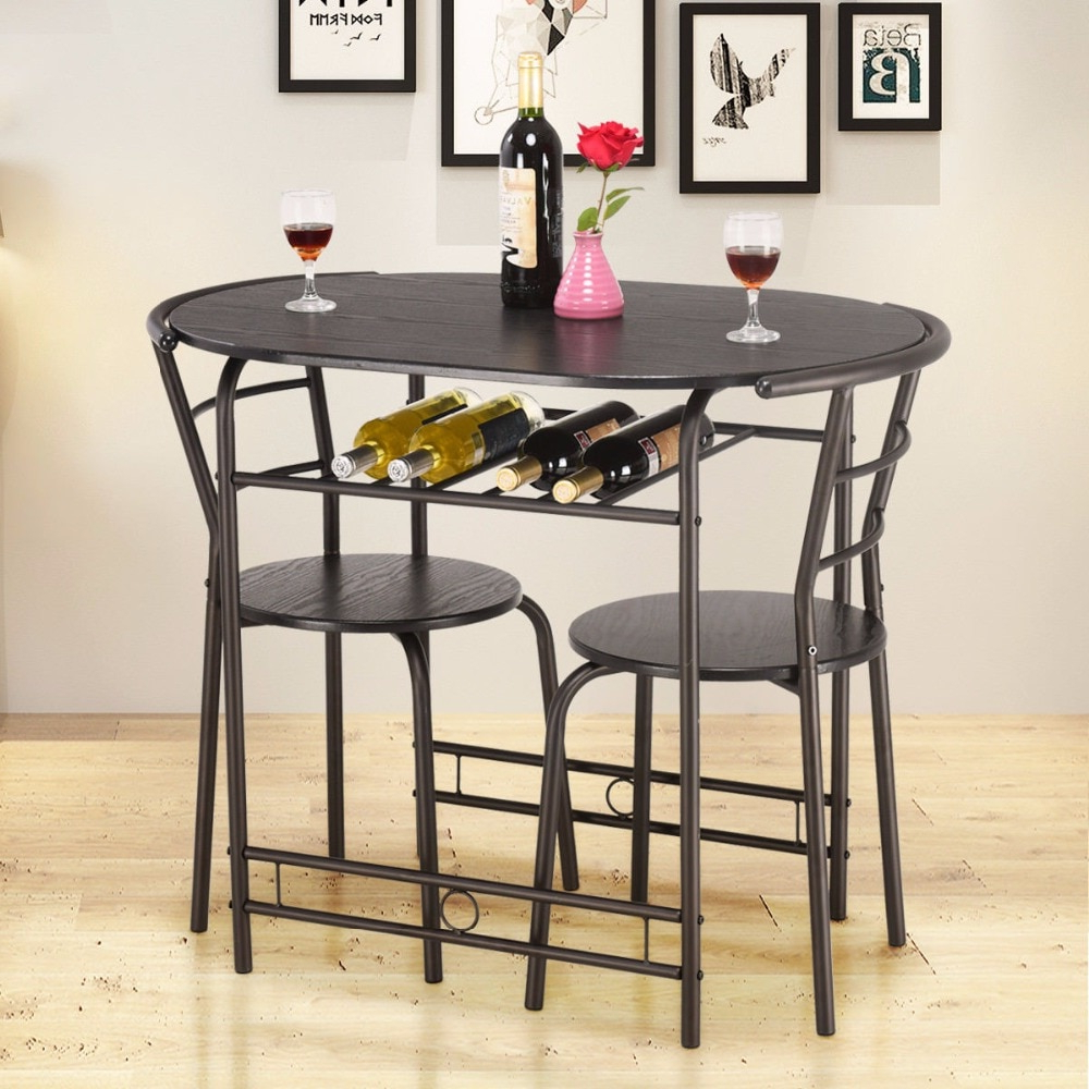3 Pieces Dining Tables And Chair Set with regard to Famous Giantex 3 Pcs Dining Set Table And 2 Chairs Home Kitchen