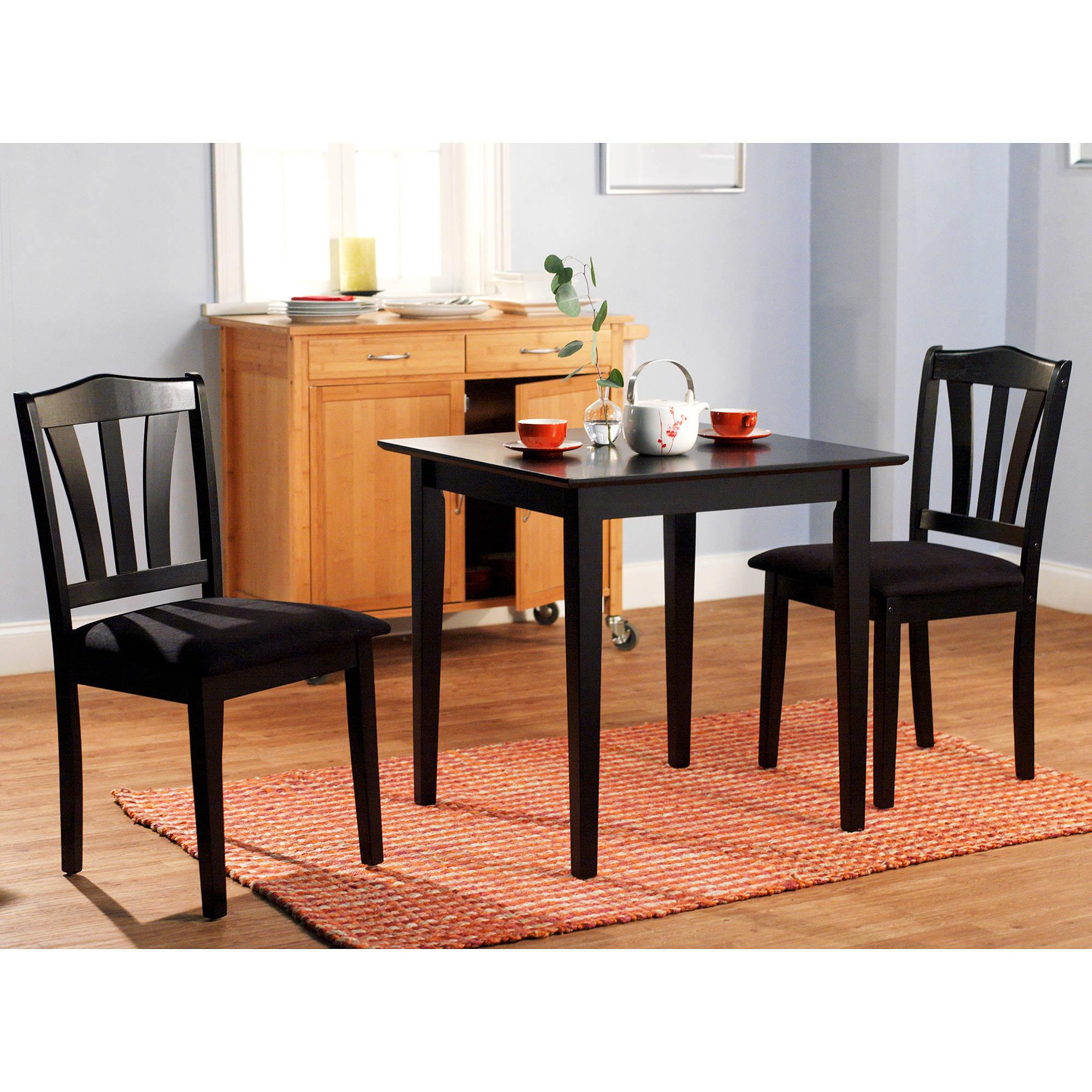 3 Pieces Dining Tables And Chair Set within Preferred Details About 3 Piece Dining Set Table 2 Chairs Kitchen Room Wood Furniture  Dinette Modern New