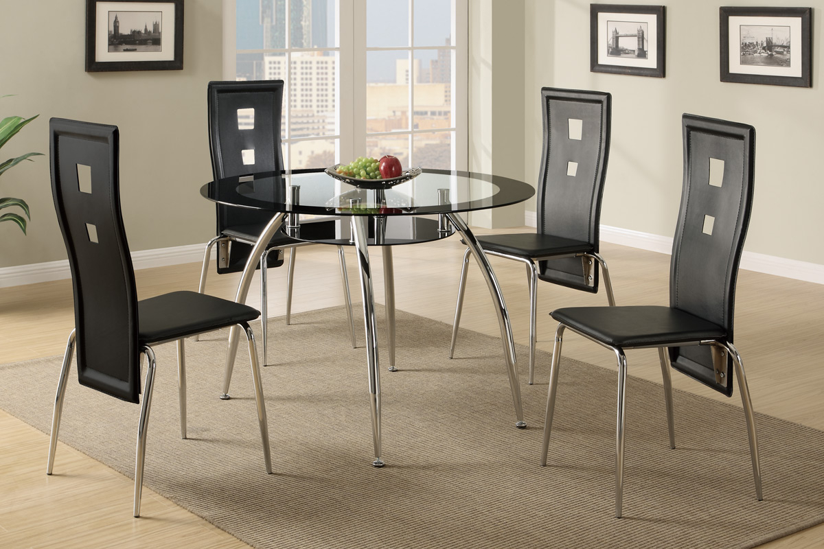 4 Seater Round Wooden Dining Tables With Chrome Legs in Newest 5-Pcs Metal Dining Set (Table + 4 Chairs) F2211