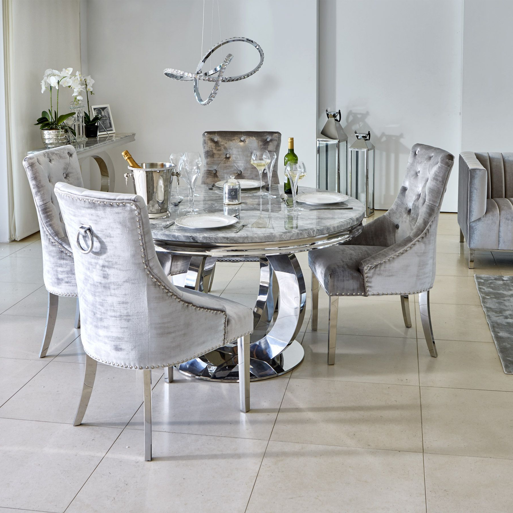 4 Seater Round Wooden Dining Tables With Chrome Legs in Trendy Oracle 130Cm Round Grey Marble Dining Table & 4 Parker Grey