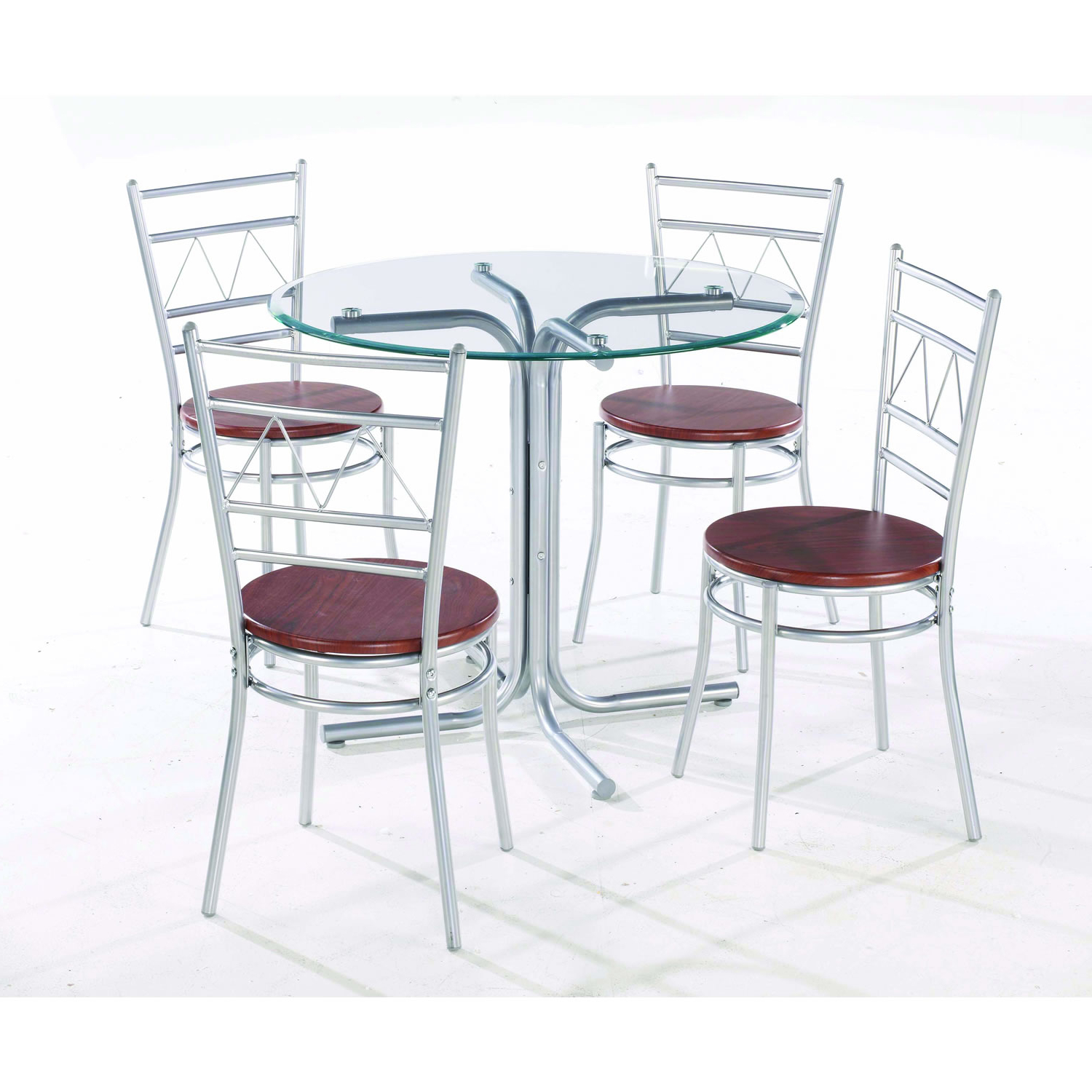 4 Seater Round Wooden Dining Tables With Chrome Legs inside Most Recent Wonderful Round Glass Dining Table With Four Chrome Metal