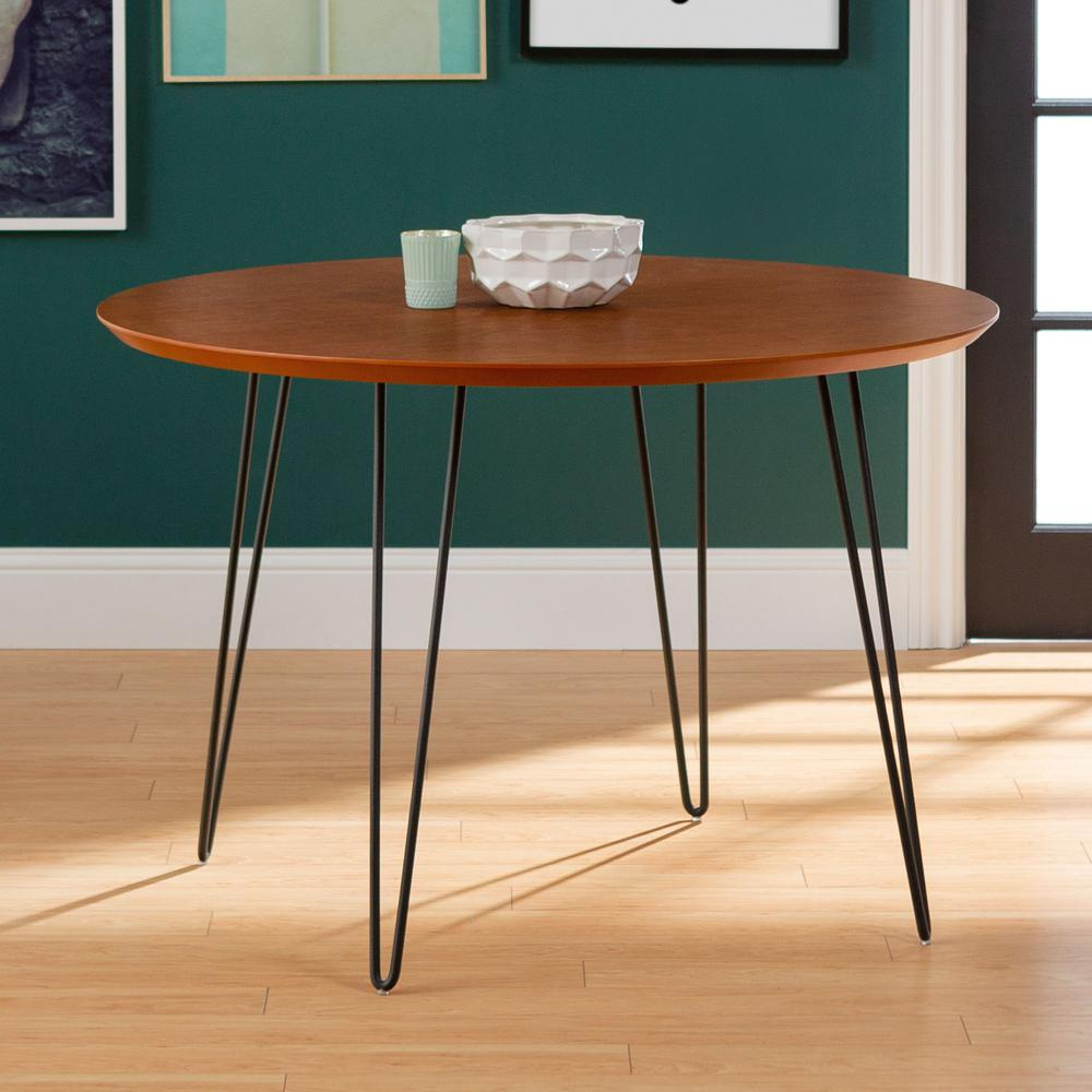 4 Seater Round Wooden Dining Tables With Chrome Legs pertaining to Most Popular 46 In. Walnut Round Hairpin Leg Dining Table Hdw46Rdhpwt