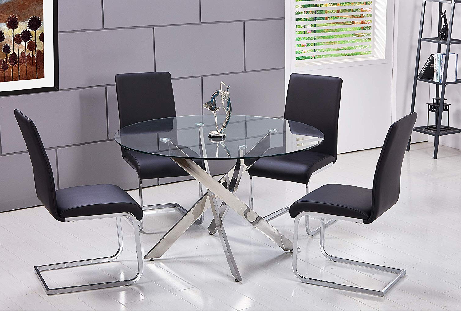 4 Seater Round Wooden Dining Tables With Chrome Legs regarding Well-known Amazon - Best Master Furniture T01 Mirage 5 Pcs Glass