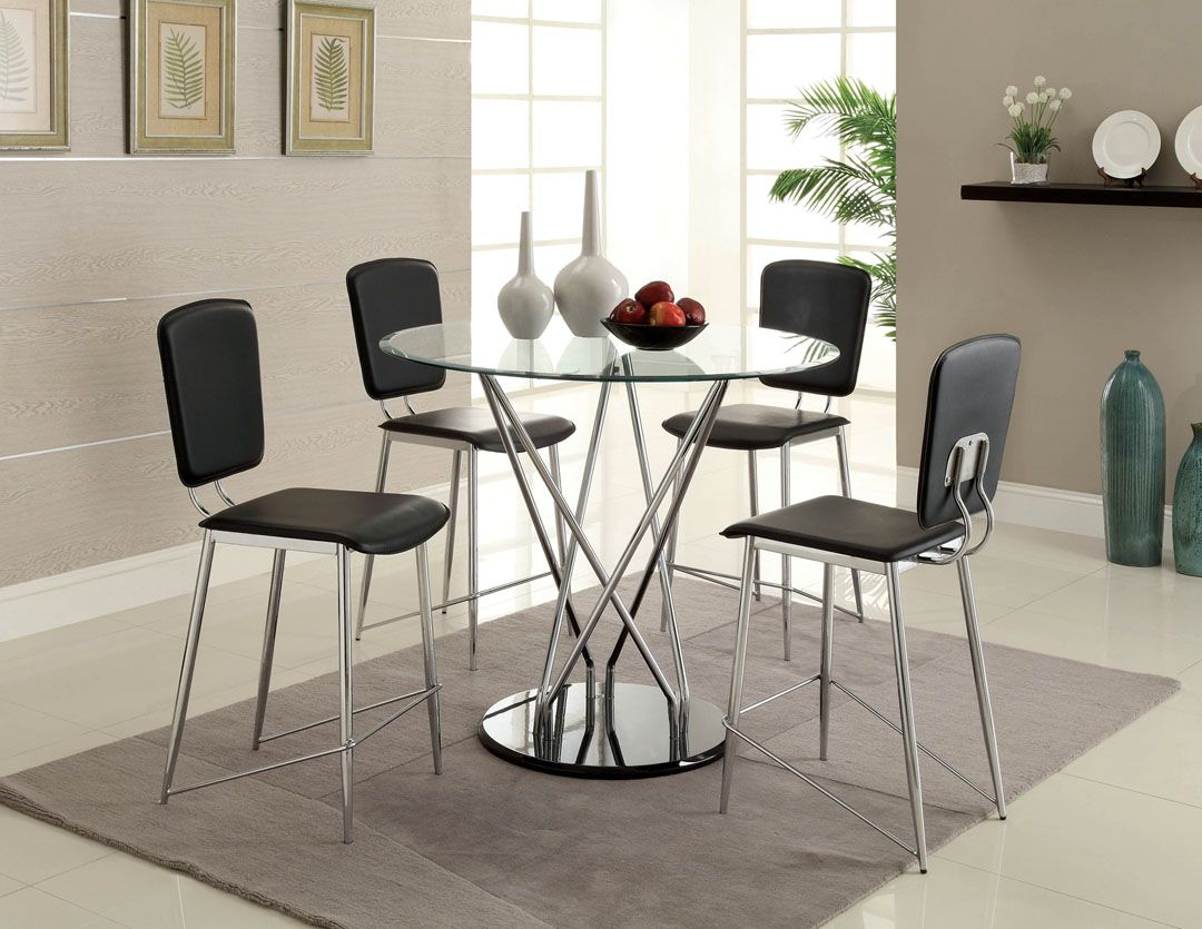 5 Pc. Aina Ii Collection Contemporary Style Counter Height pertaining to Best and Newest Chrome Contemporary Square Casual Dining Tables