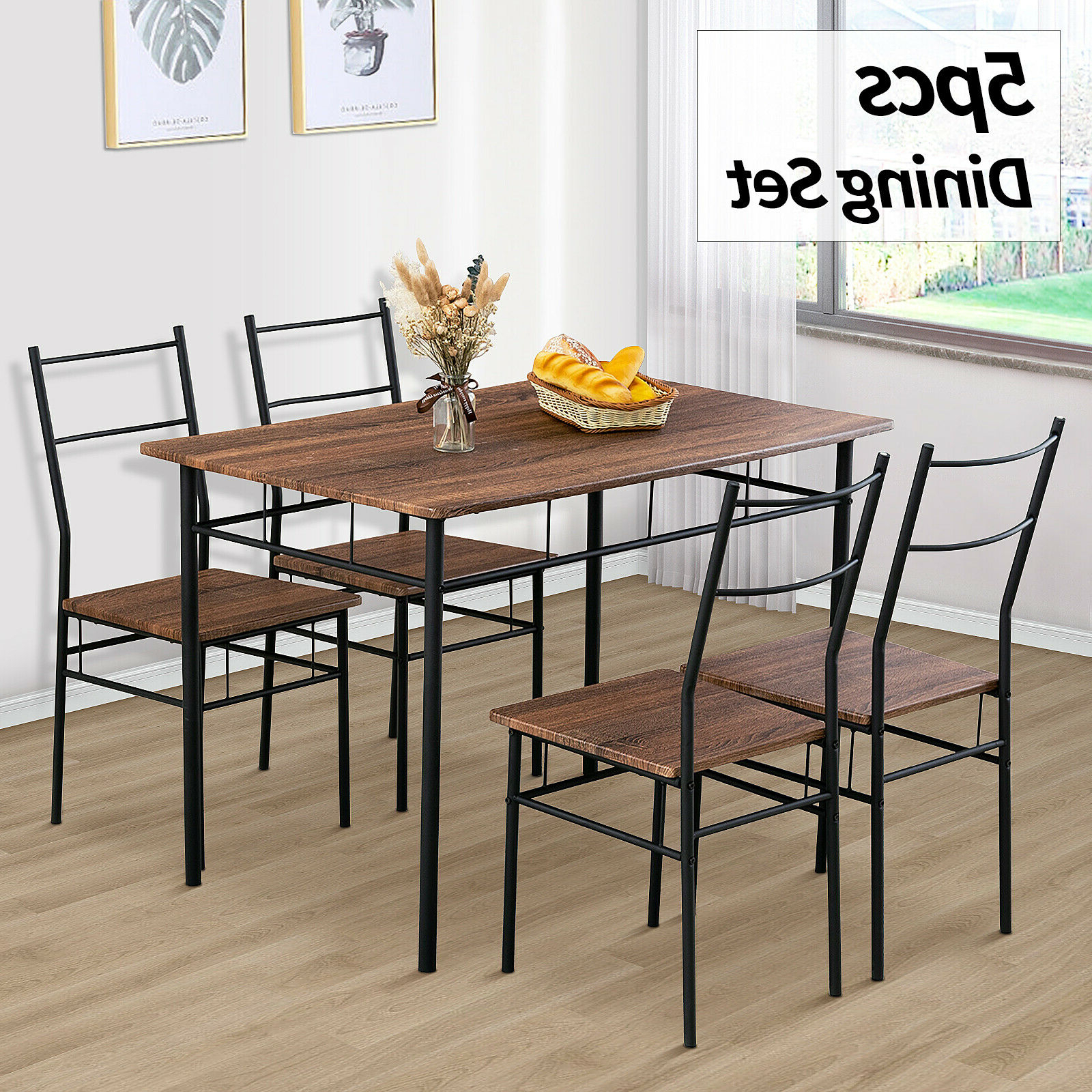 5 Piece Metal Dining Table Furniture Set 4 Chairs Wood Top Dining Room Brown Inside 2020 Wood Top Dining Tables (View 7 of 25)