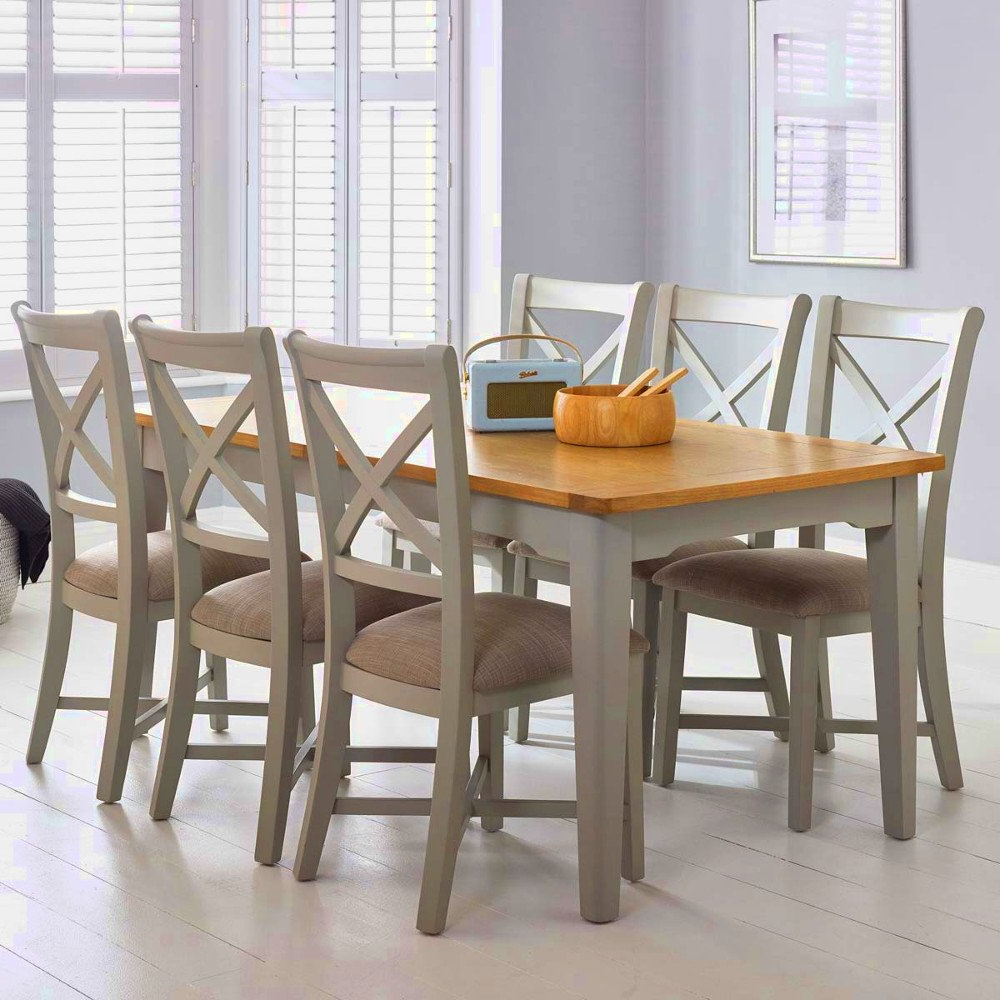 6-8 Seater Dining Table Shabby Chic Wood Pine And Chairs Set regarding Famous Rustic Pine Small Dining Tables