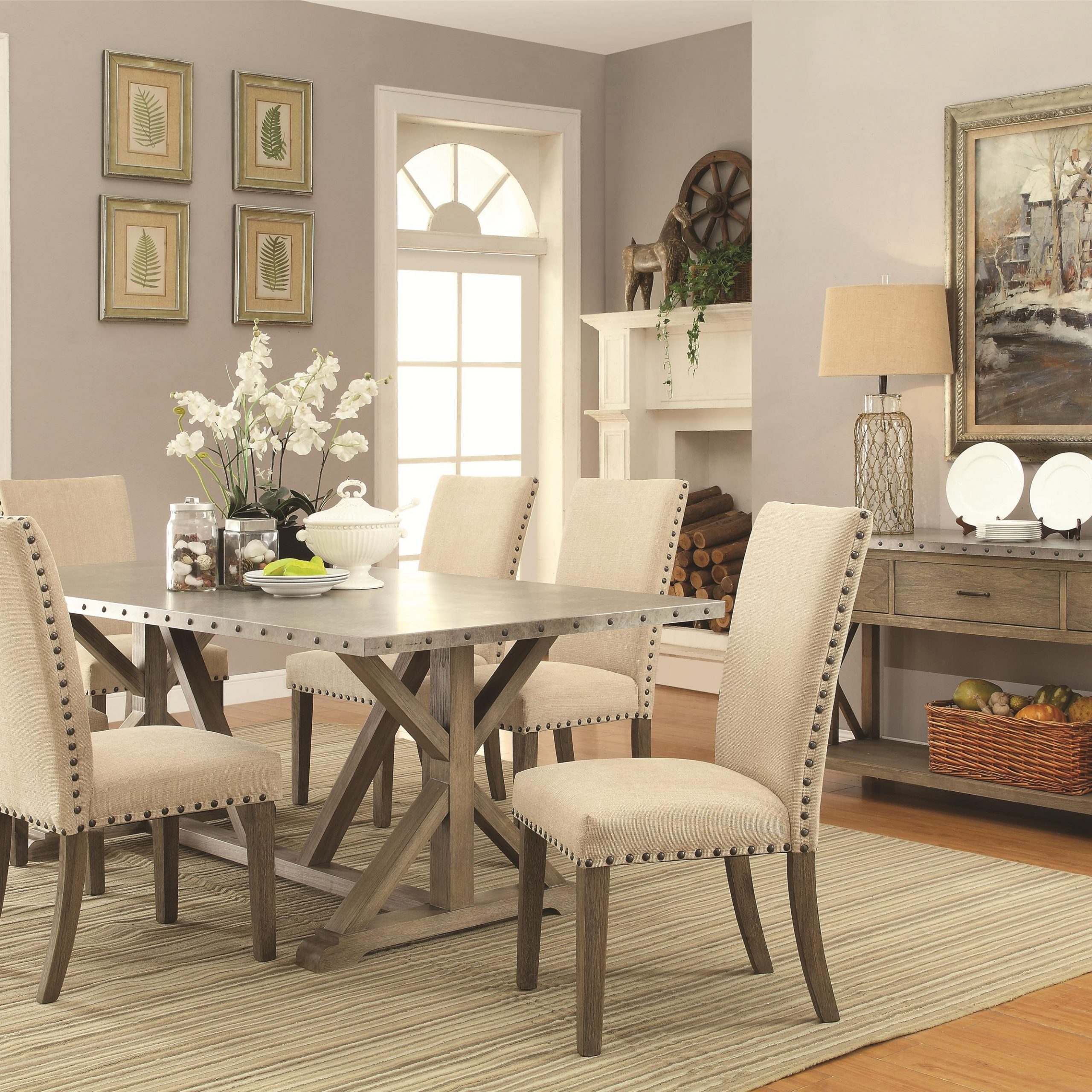 7 Piece Transitional Style Table And Chair Set With Metal Within Newest Transitional 6 Seating Casual Dining Tables (View 5 of 25)