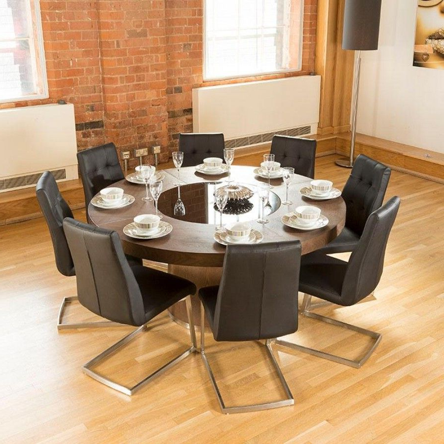 8 Seater Wood Contemporary Dining Tables With Extension Leaf throughout Newest Luxury Large Round Elm Dining Table Lazy Susan + 8 Chairs