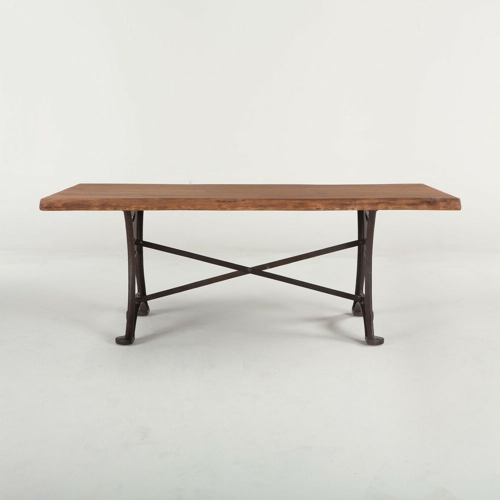"""80"""" L Colton Dining Table Raw Walnut Top Iron Base Hand Regarding Well Known Acacia Wood Top Dining Tables With Iron Legs On Raw Metal (View 1 of 25)"""