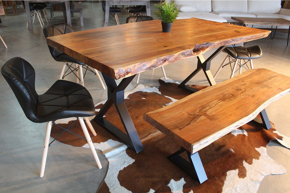 Acacia Dining Tables With Black Legs For Most Popular Acacia Live Edge Dining Table With Black X Shaped Legs (View 2 of 25)
