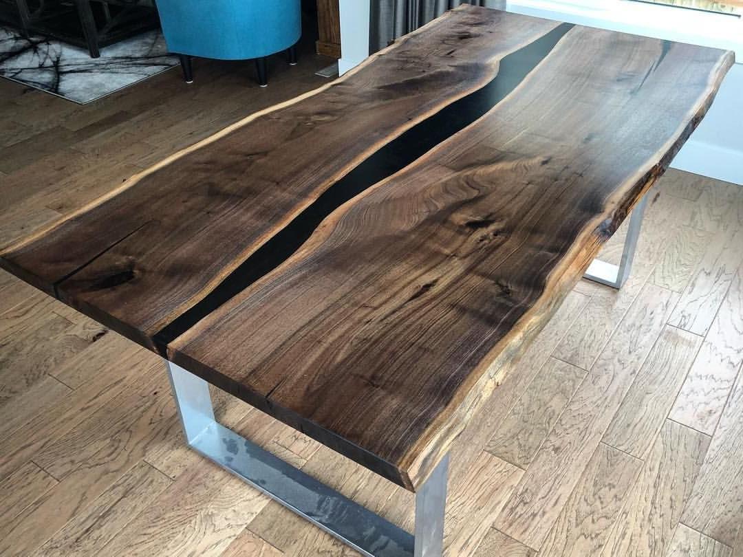 Acacia Dining Tables With Black Legs Regarding Popular Retro Industrial Furniture Jodhpur Handicrafts: Epoxy River (View 23 of 25)
