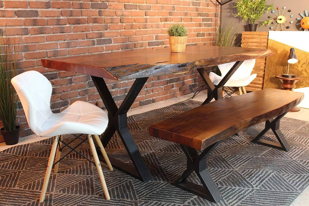 Acacia Dining Tables With Black Legs Regarding Recent Live Edge Acacia Dining Table With Black X Legs/honey Walnut (View 3 of 25)