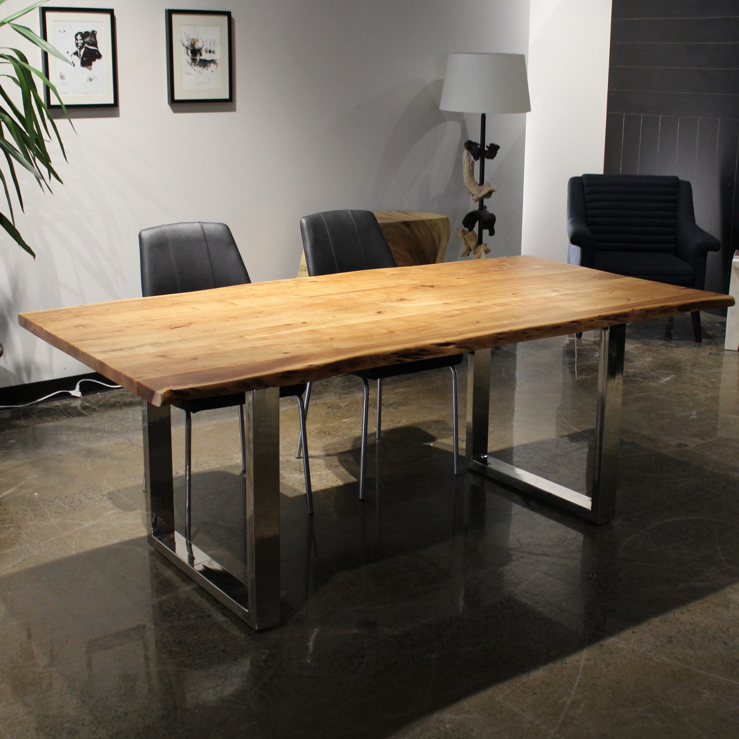 """Acacia Dining Tables With Black Rocket Legs In Fashionable Corcoran Acacia Live Edge Dining Table With Black Rocket Legs – 72"""" (View 8 of 25)"""