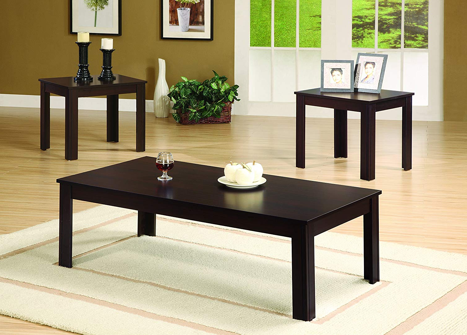 Acacia Dining Tables With Black Victor Legs With Well Known 3 Piece Occasional Table Set Cappuccino (View 24 of 25)