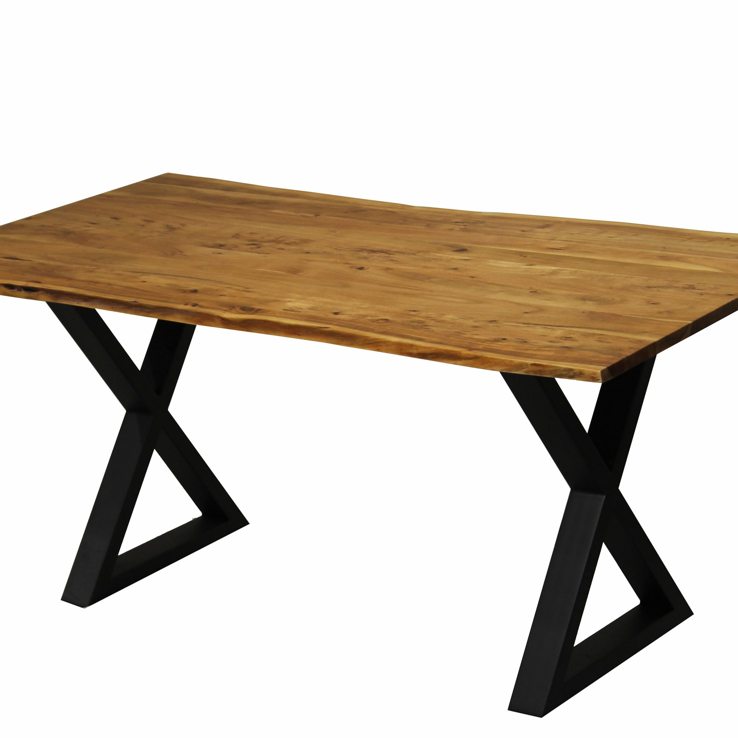 Acacia Dining Tables With Black X Legs For Most Recent Zen Live Edge 67 Inches Dining Table (Acacia – Black X Legs) (View 4 of 25)