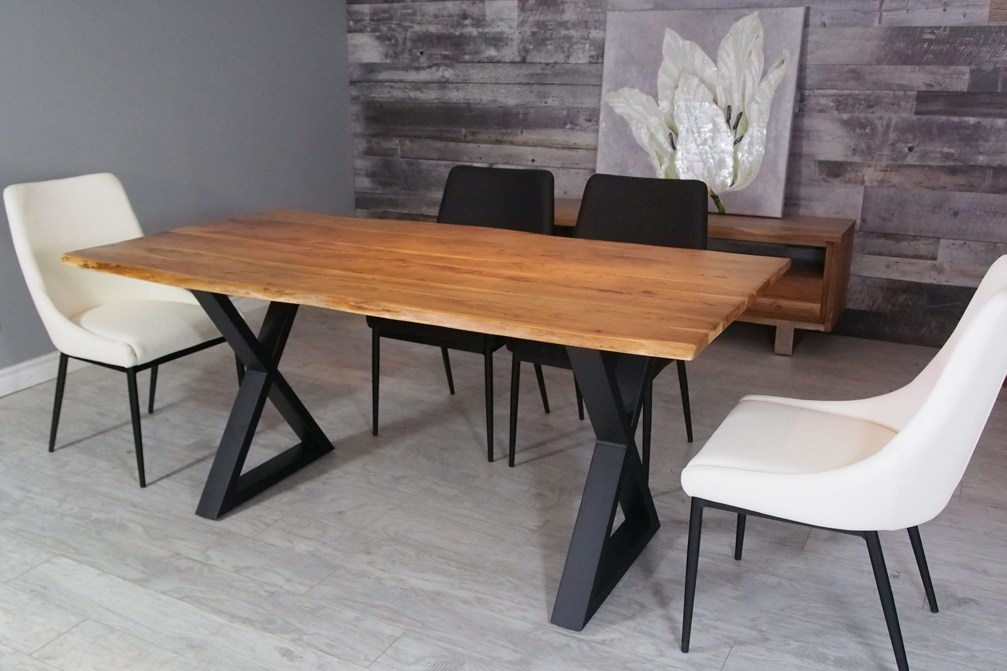 "Acacia Dining Tables With Black X Legs Pertaining To Widely Used Corcoran Acacia Live Edge Dining Table With Black X Legs – 67"" (View 21 of 25)"