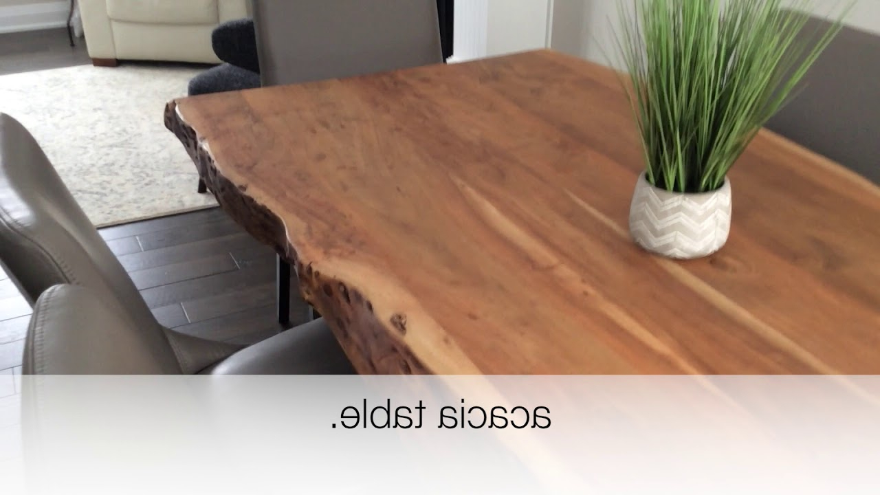 Acacia Live Edge Dining Table With Black X Shaped Legs/natural Color Review In Most Recent Acacia Dining Tables With Black X Leg (View 6 of 25)