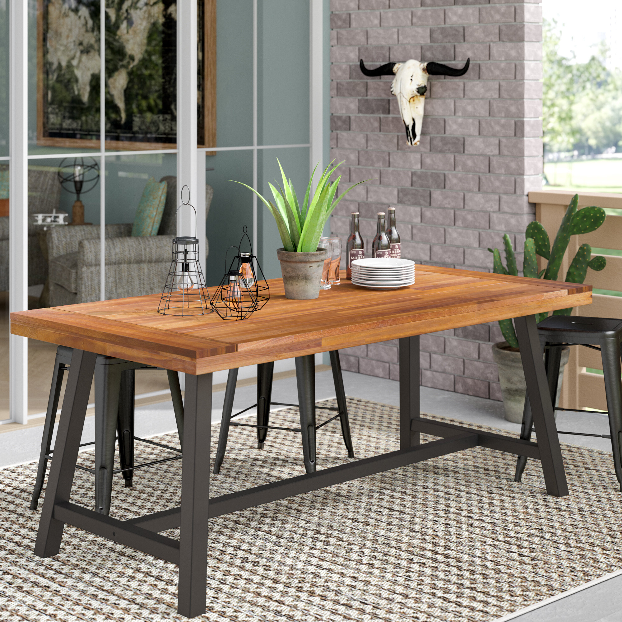 Acacia Top Dining Tables With Metal Legs In Latest 17 Stories Polanco Dining Table & Reviews (View 14 of 25)