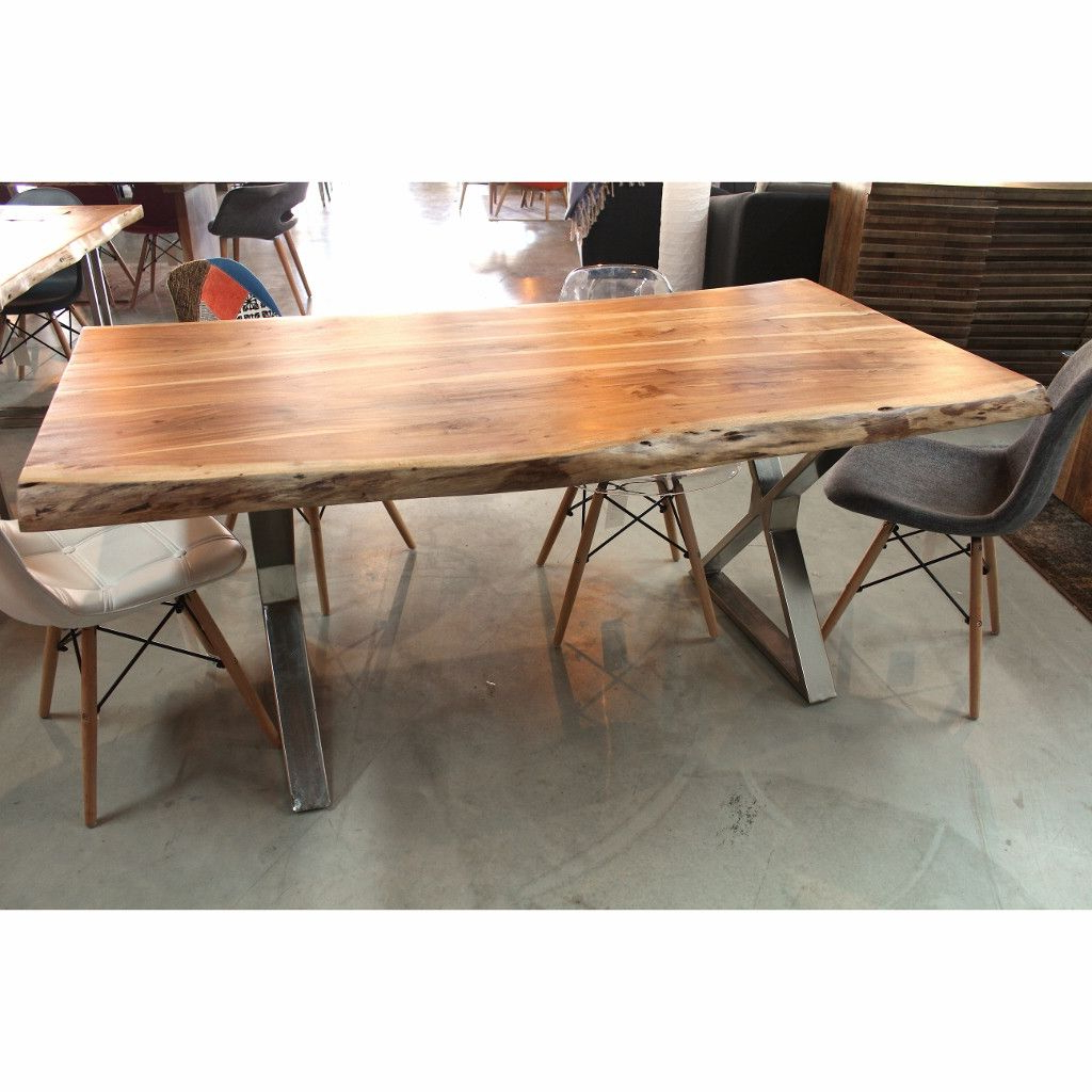 Acacia Top Dining Tables With Metal Legs With Regard To Popular Acacia Live Edge Wood Table With Crossed Chrome Legs – Wazo (View 9 of 25)