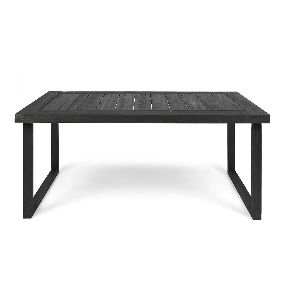 Acacia Top Dining Tables With Metal Legs With Well Liked Noble House Nestor Sandblast Dark Grey Rectangular Wood Outdoor Dining Table (View 10 of 25)