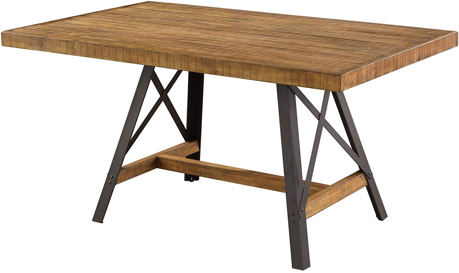 "Acacia Wood Dining Tables With Sheet Metal Base In Favorite Joey 60"" Dining Table In Gingersnap With Rustic Plank Top And Metal Base, Artum Hill (View 21 of 25)"
