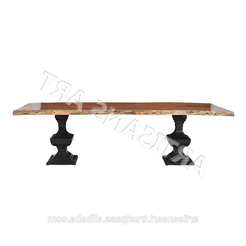 Acacia Wood Dining Tables With Sheet Metal Base Intended For Trendy Vintage Rustic Live Edge Dining Table With Wonderful Iron Base,acacia Wood  Slab Table,dining Room Furniture – Buy Live Edge Dining Table,solid Wood (View 10 of 25)