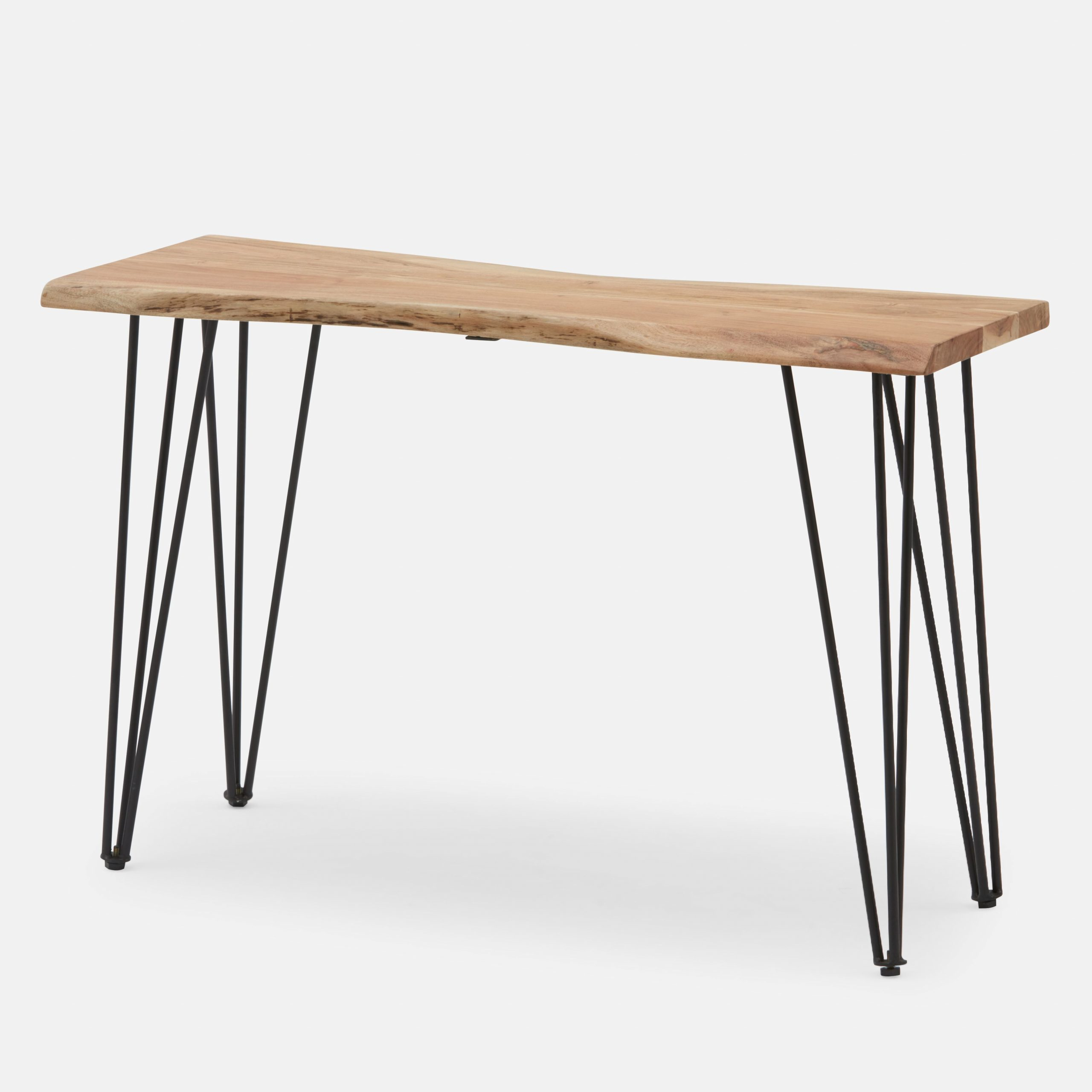 "Acacia Wood Top Dining Tables With Iron Legs On Raw Metal Within 2020 Solid Acacia Wood Console Table 120Cm (47"") (View 18 of 25)"
