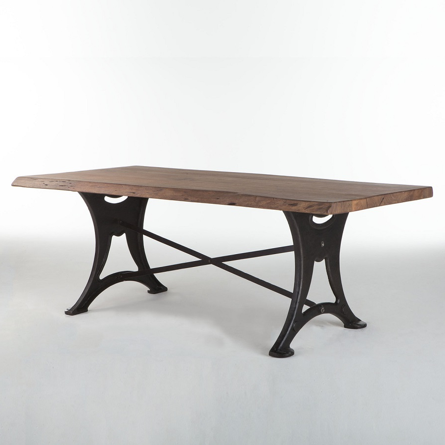 Acacia Wood Top Dining Tables With Iron Legs On Raw Metal Within Preferred Live Edge 80 Dining Table : , High End Direct (View 23 of 25)