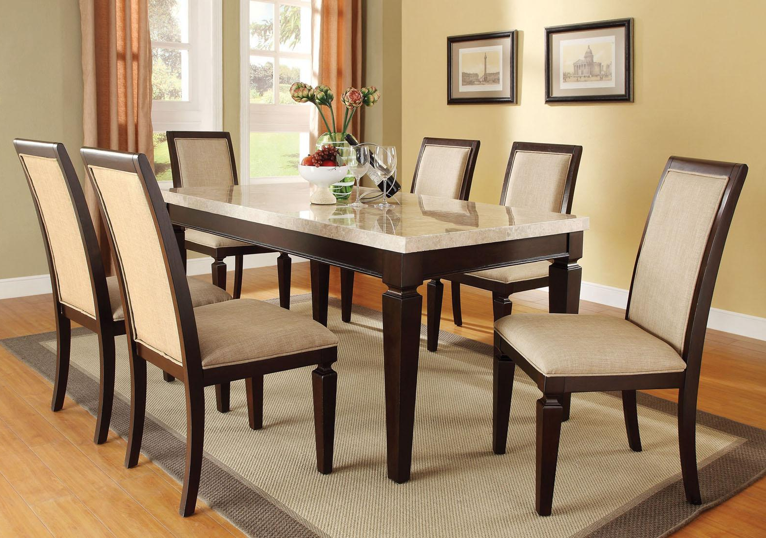 Acme Agatha 7Pc White Marble Top Rectangular Dining Room Set Throughout Well Liked Espresso Finish Wood Classic Design Dining Tables (View 7 of 17)