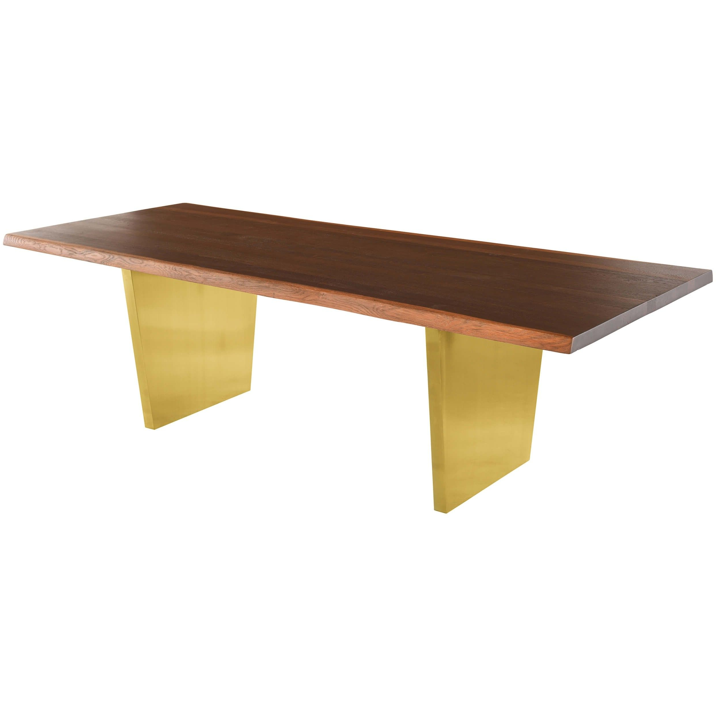 Aiden Dining Table, Seared Oak/brushed Gold Base – 78 In Famous Dining Tables In Seared Oak (View 3 of 25)