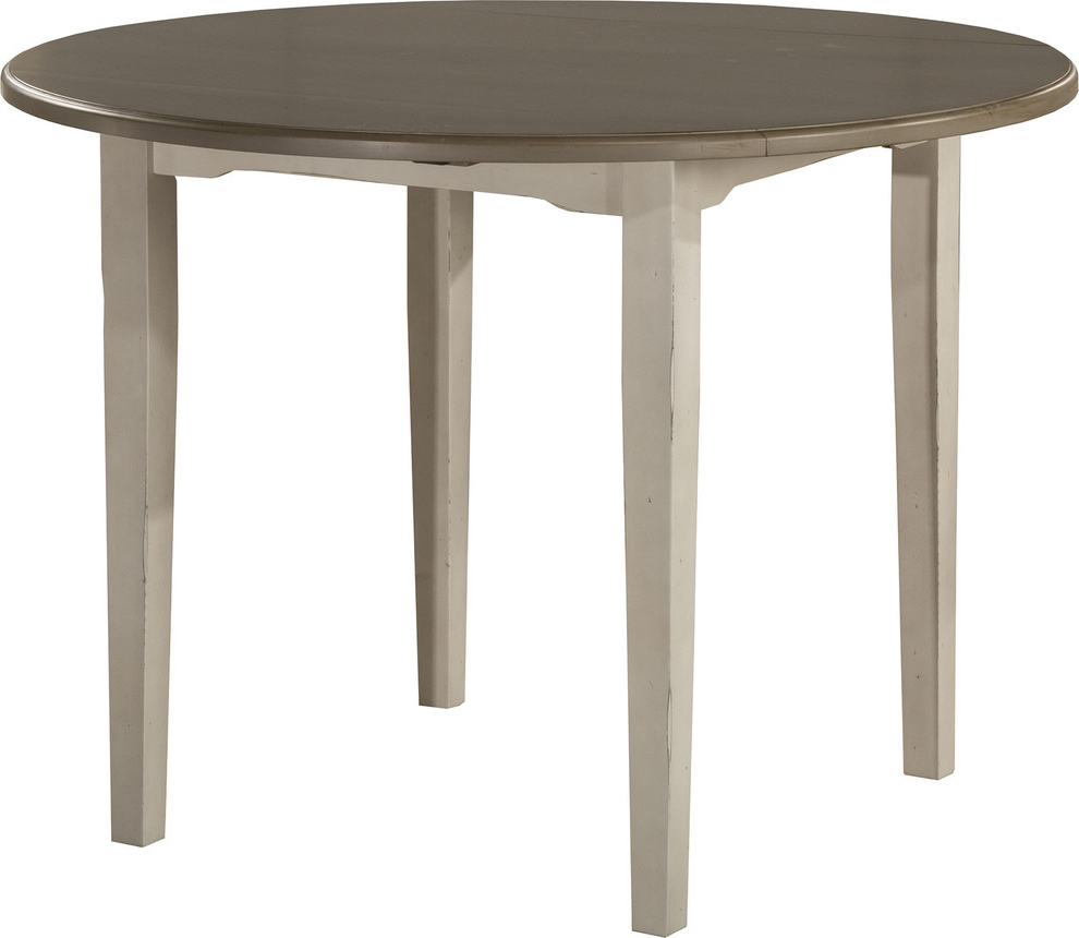 Alamo Transitional 4 Seating Double Drop Leaf Round Casual Dining Tables Inside 2020 Clarion Round Drop Leaf Dining Table, Distressed Gray Top, Sea White Base (View 5 of 26)
