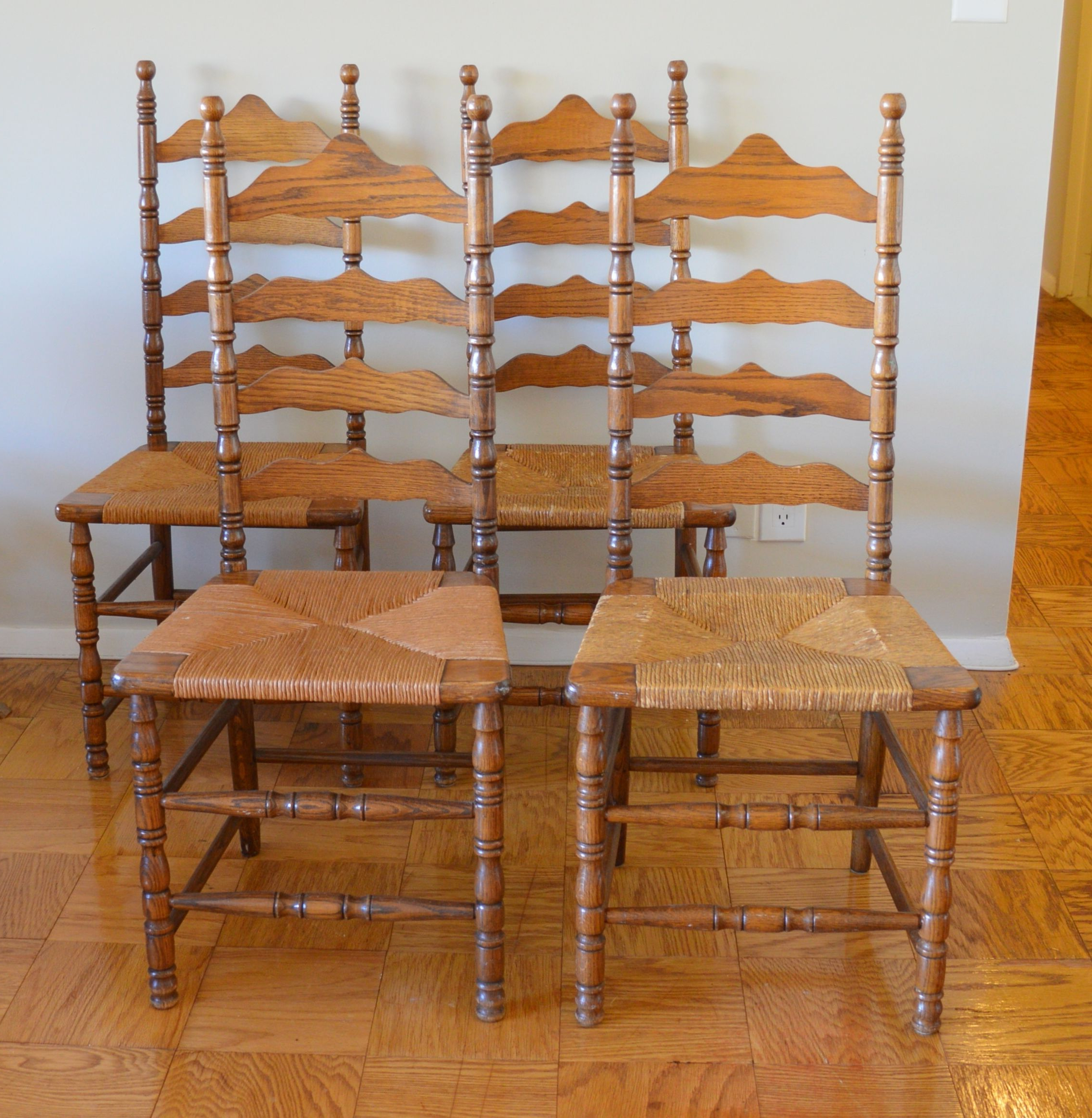 Alamo Transitional 4 Seating Double Drop Leaf Round Casual Dining Tables Pertaining To Most Recent Picked Up These 4 Vintage Ladder Back Chairsthe Boling (View 5 of 26)