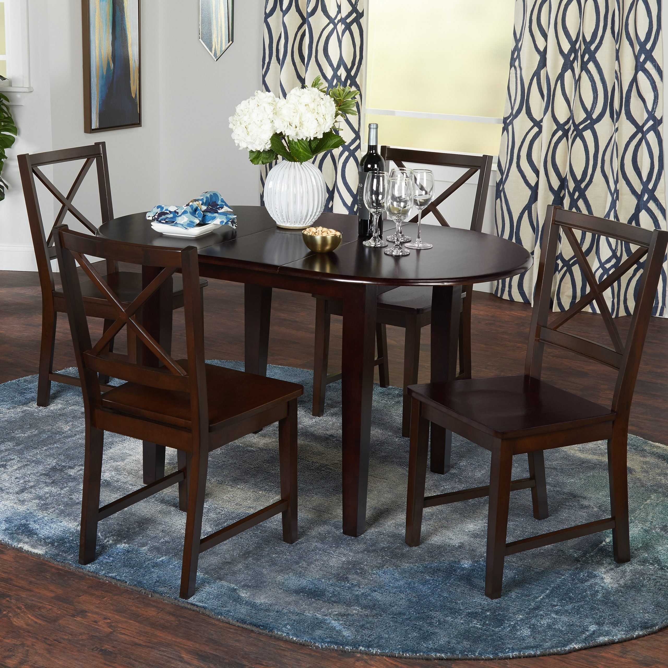 Alamo Transitional 4 Seating Double Drop Leaf Round Casual Dining Tables Throughout Recent Tapas Butterfly Dining Table, Espresso – Walmart (View 7 of 26)