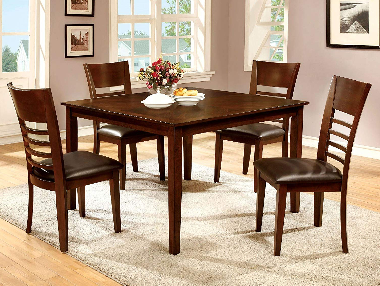Amazon – 1Perfectchoice Simple Relax Hillsview 5Pc In Well Liked Transitional 4 Seating Square Casual Dining Tables (View 1 of 25)