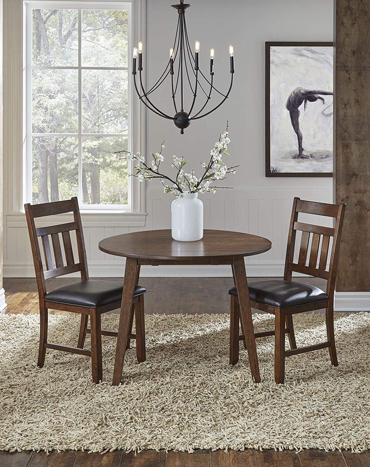 Amazon – A America Mason 42Inch Round Dropleaf Table With Recent Transitional 4 Seating Double Drop Leaf Casual Dining Tables (View 7 of 25)