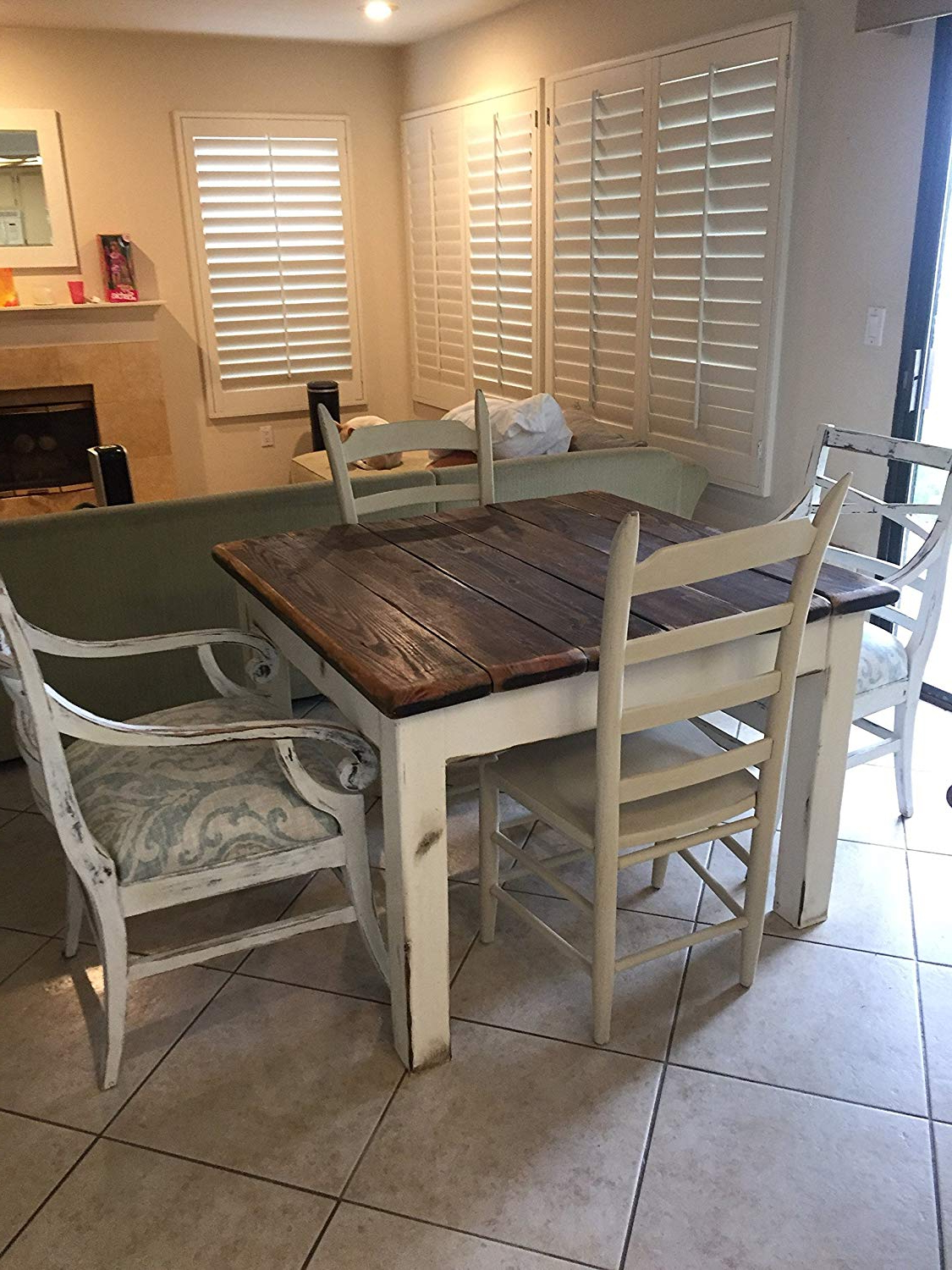 Amazon: Coastal Living Farm House Wood Kitchen Table With Current Distressed Walnut And Black Finish Wood Modern Country Dining Tables (View 21 of 25)