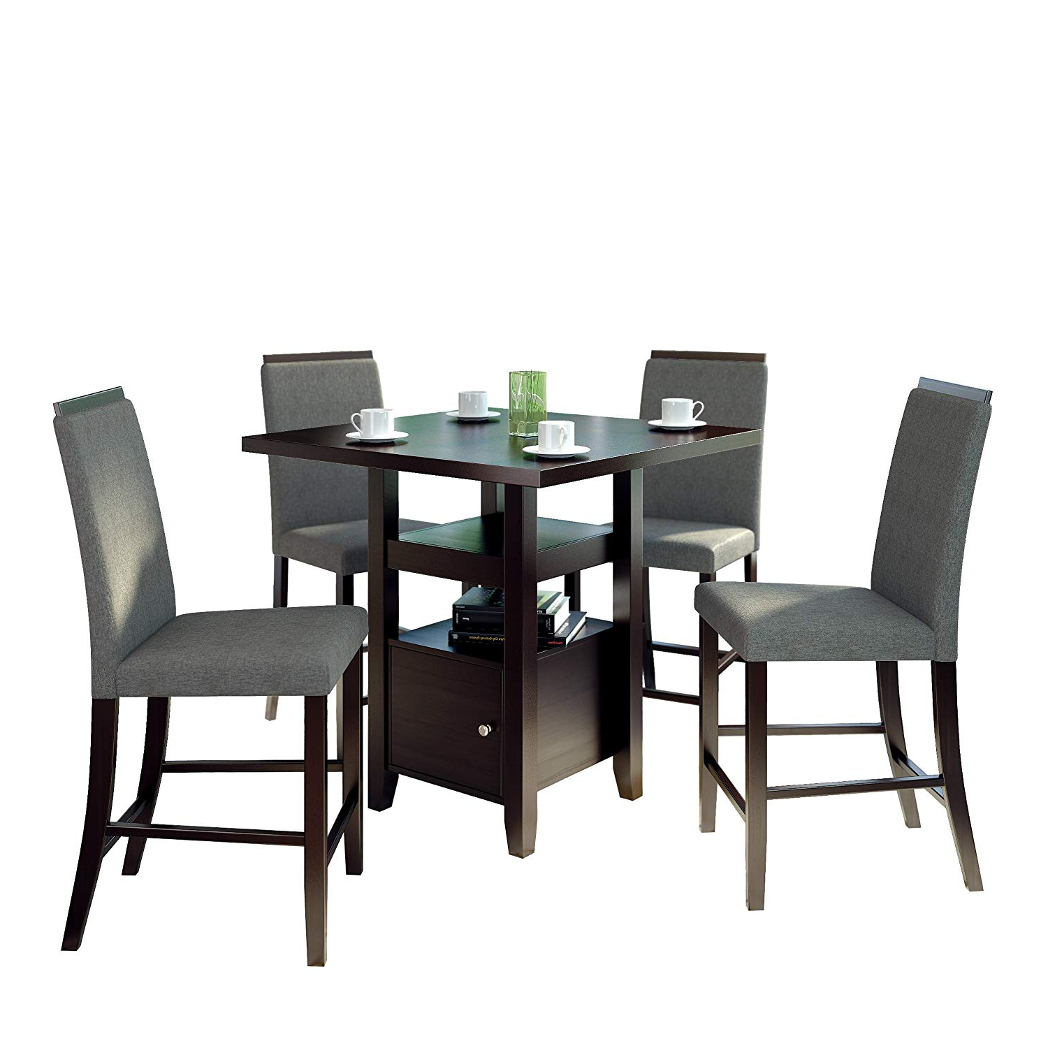 Amazon – Corliving 5 Piece Bistro Counter Height Rich Pertaining To Latest Bistro Transitional 4 Seating Square Dining Tables (View 2 of 24)