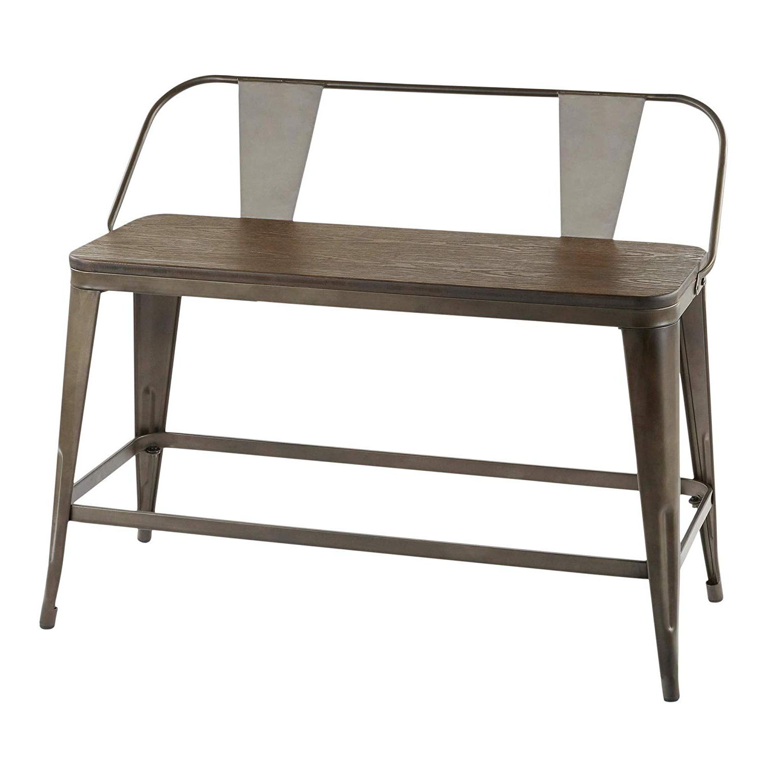 Amazon: Lumisource Counter Bench In Antique And Espresso Regarding Newest Vintage Cream Frame And Espresso Bamboo Dining Tables (View 16 of 25)