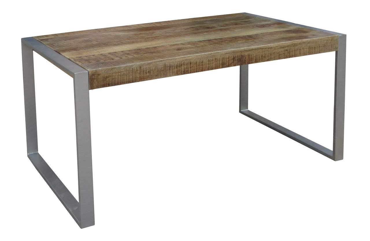Amazon – Timbergirl Aa1510 Reclaimed Wood Silver Metal Within Most Recently Released Iron Wood Dining Tables With Metal Legs (View 10 of 25)
