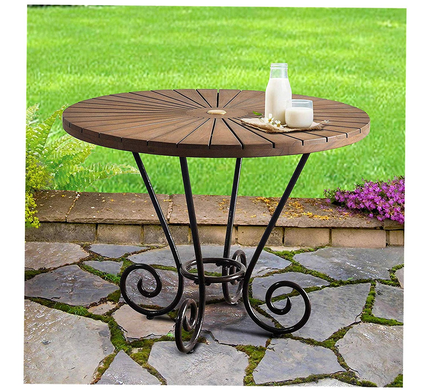 Amazon: Wood & Style Furniture Iron &teak Round Dining With Best And Newest Iron Wood Dining Tables (View 5 of 25)