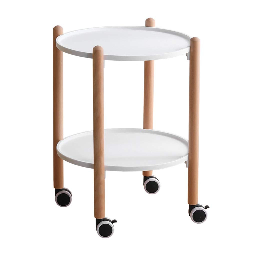 Amazon: Zdnals Bedside Table Round Solid Wood Sofa In Famous Solid Wood Circular Dining Tables White (View 21 of 25)