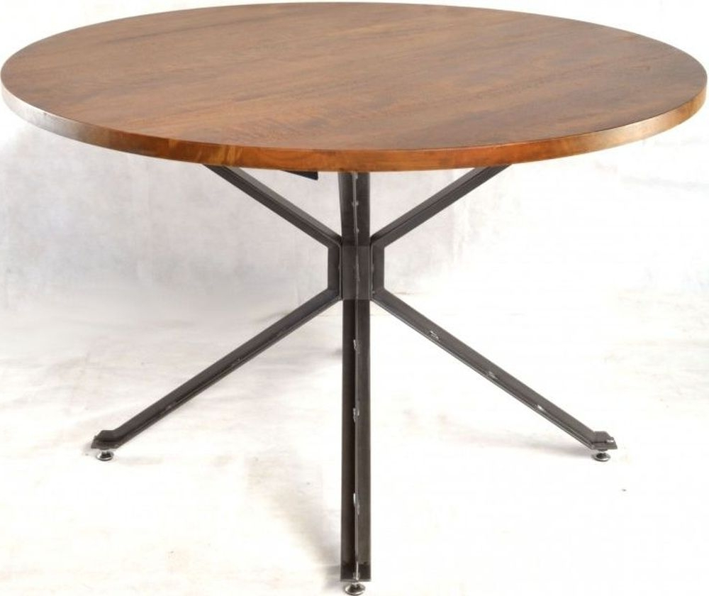 Ancient Mariner Brace Mango Wood Round Dining Table With Regard To Well Known Iron Dining Tables With Mango Wood (View 14 of 25)