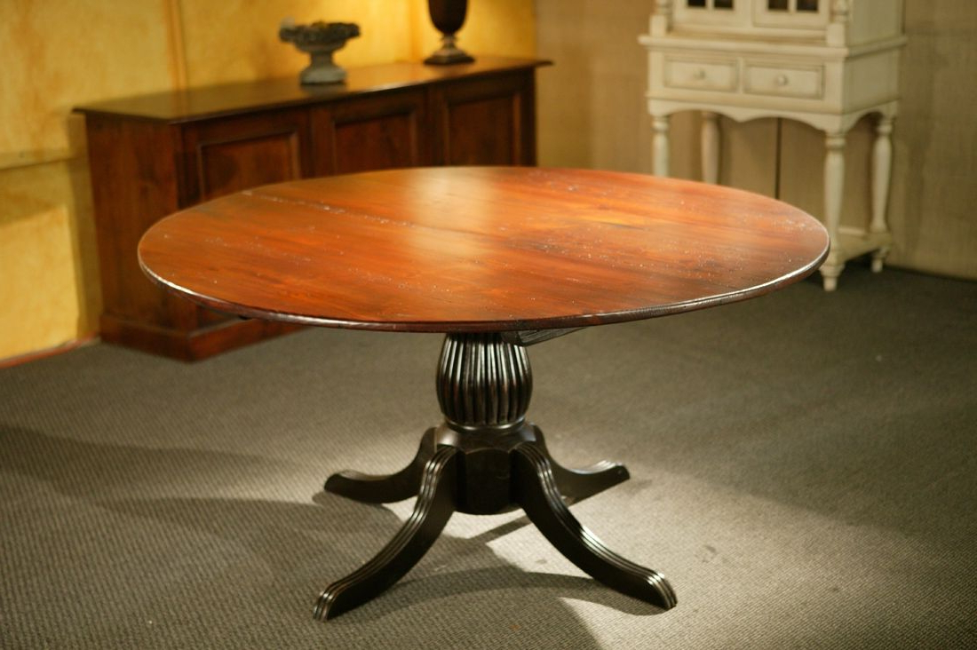 Antique Black Wood Kitchen Dining Tables Pertaining To Current Custom Round Kitchen Tables With Black Fluted Pedestal (View 14 of 25)