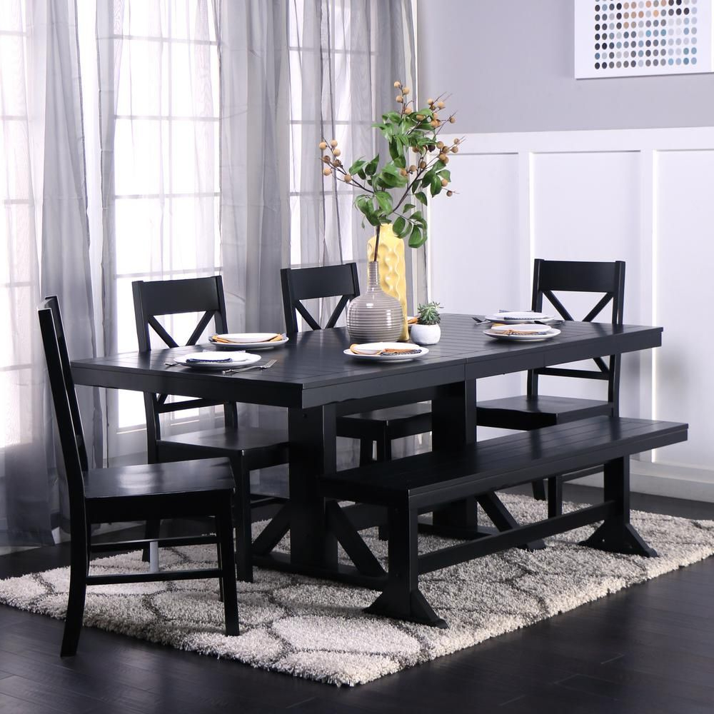 Antique Black Wood Kitchen Dining Tables Within Well Known 6 Piece Antique Black Wood Kitchen Dining Set (View 3 of 25)