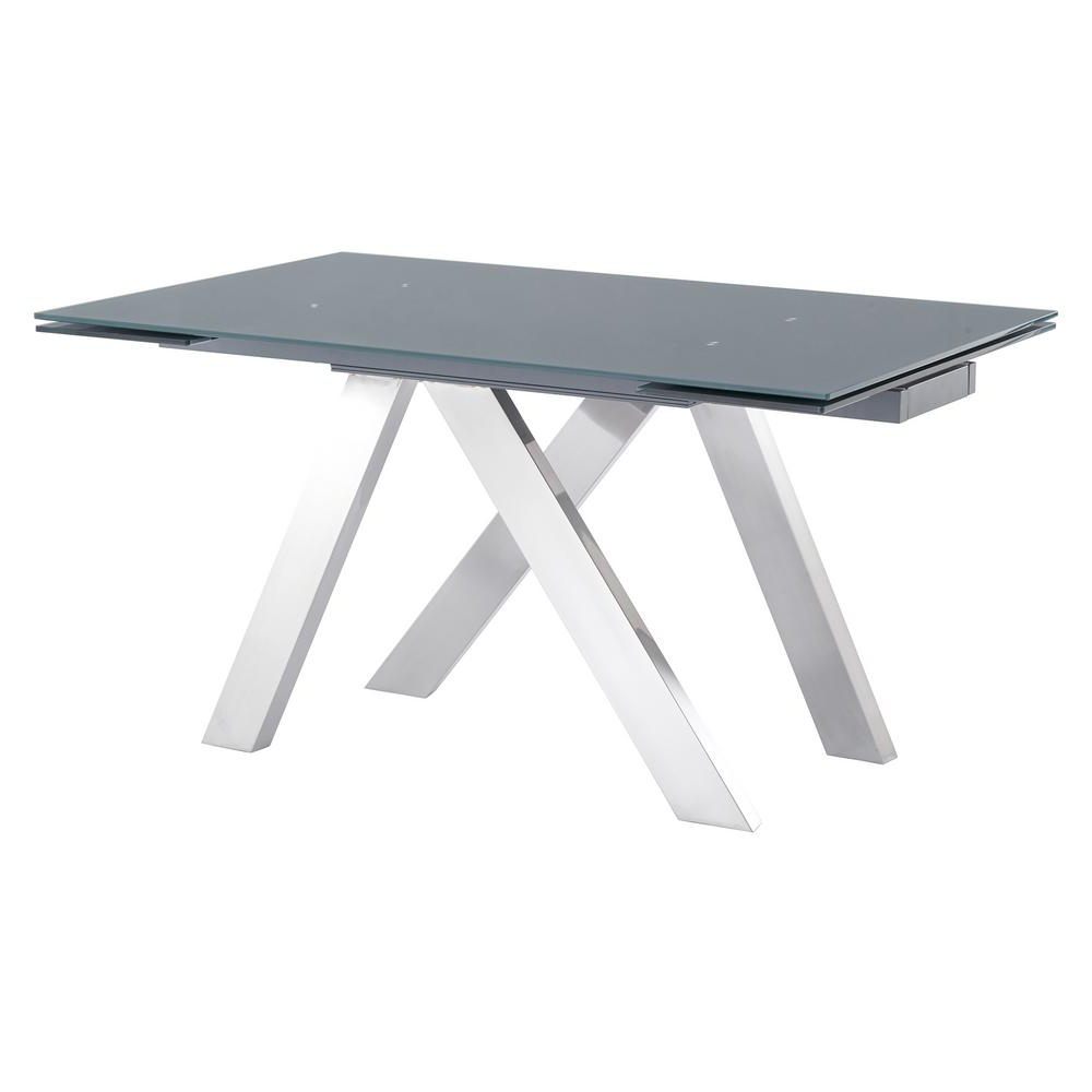 Armen Living Imara Brushed Stainless Steel And Grey Tempered Pertaining To 2020 Charcoal Transitional 6 Seating Rectangular Dining Tables (View 2 of 25)