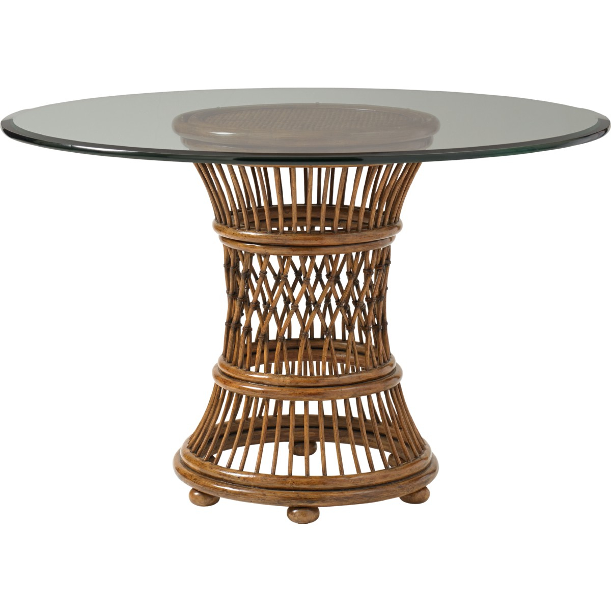 "Aruba 36"" Dining Table W/ Leather Wrapped Rattan Base Throughout Popular Glass Top Condo Dining Tables (View 14 of 25)"